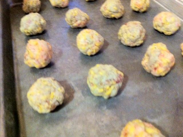 Sausage Cheese Balls by Aurora Meyer on aurorameyer.com
