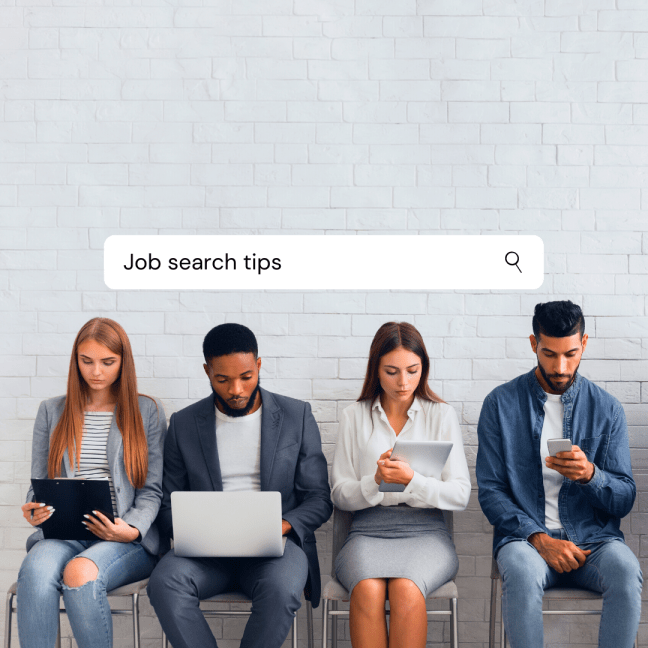 People sitting with technology in various examples of business casual dress Job search tips by Aurora Meyer on Dispatches from the Castle