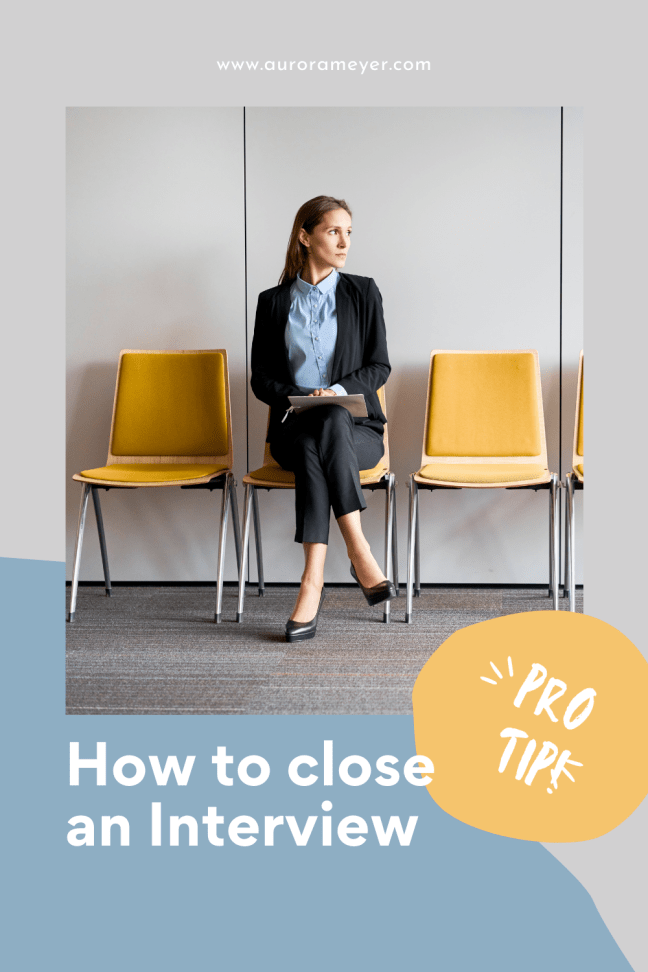 Tip to close an interview by Aurora Meyer on Dispatches from the Castle professional woman sitting in a yellow chair