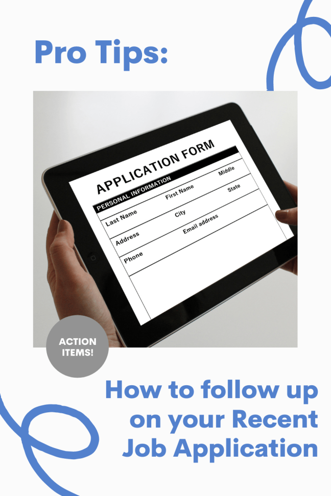 How to follow up on your Recent Job Application By Aurora Meyer on Dispatches from the Castle ipad showing job application held by two hands