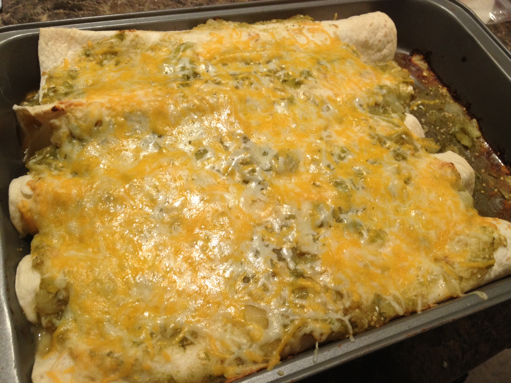 Easy at home Green Chicken Enchiladas by Dispatches from the Castle
