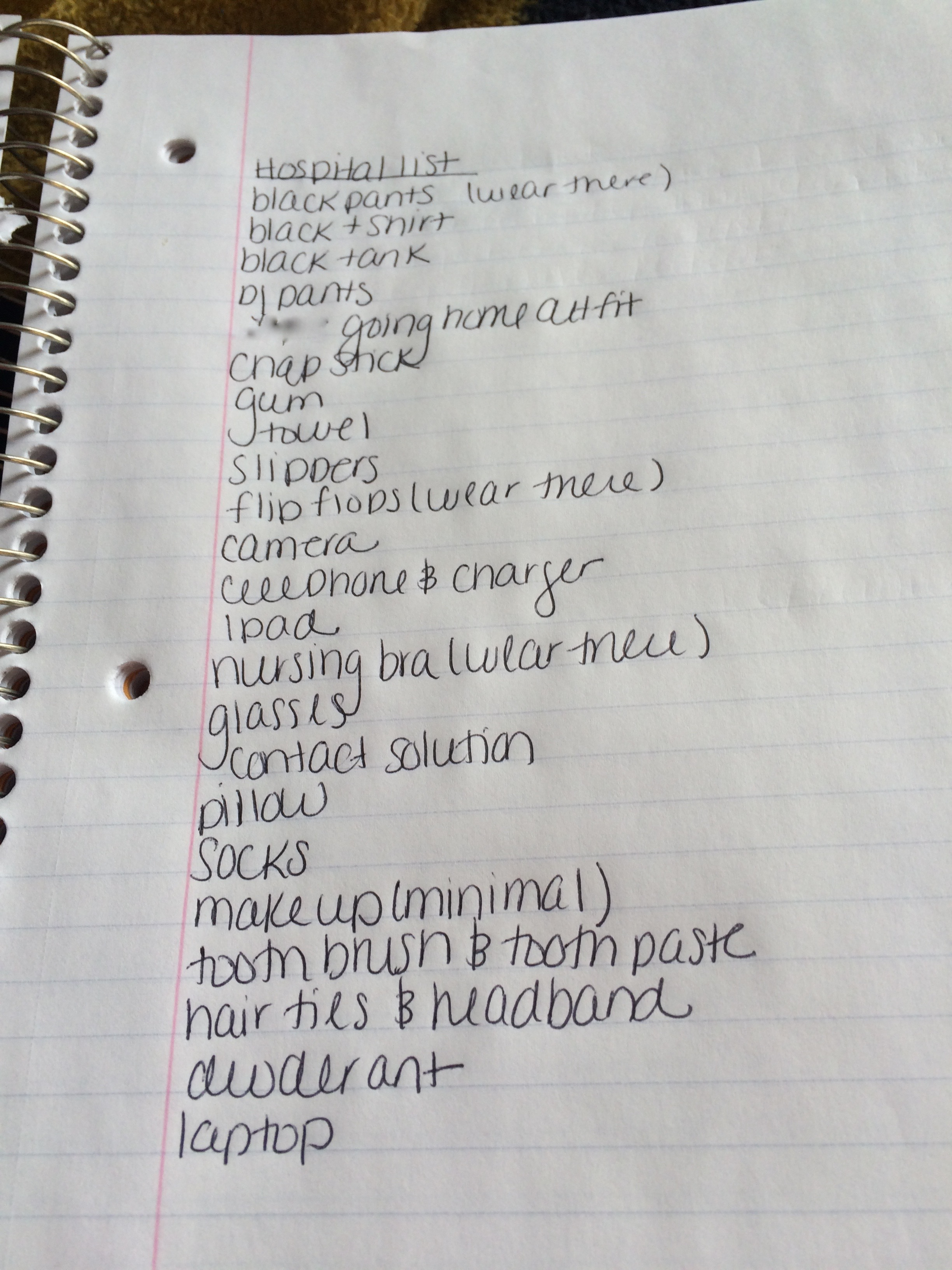 Baby Hospital Packing list