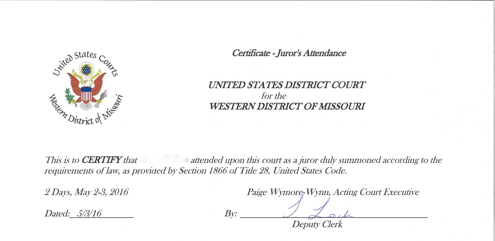 Jury Duty Certificate