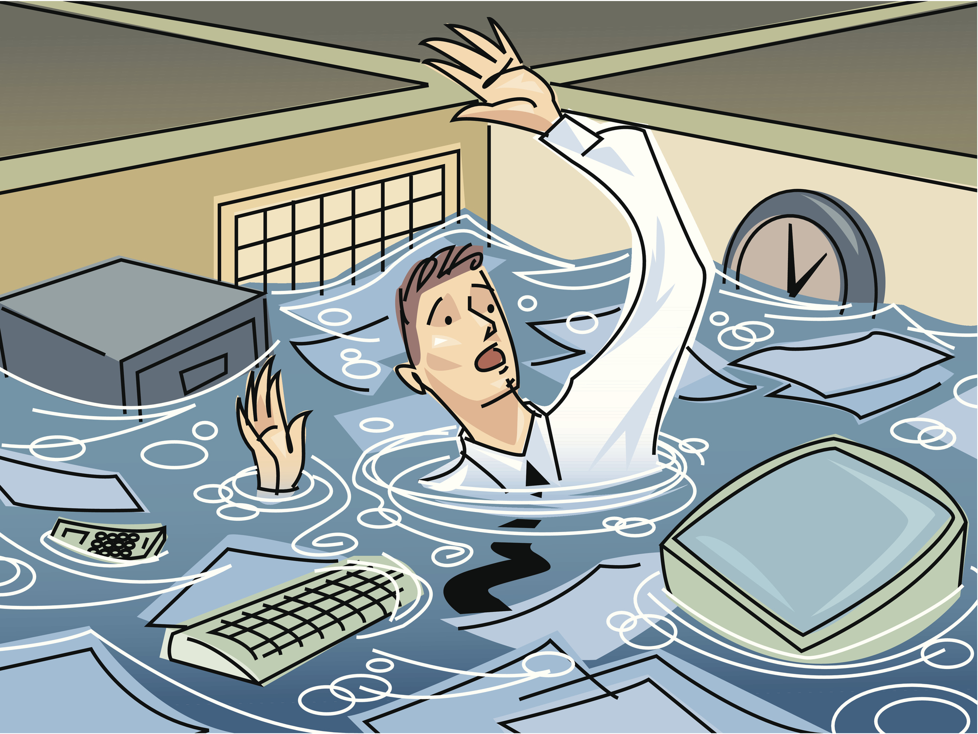 Businessman drowning in cubicle